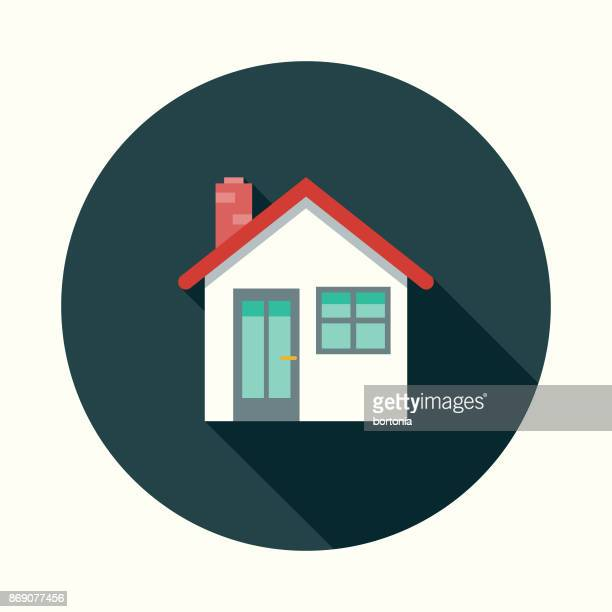 Flat Design Real Estate Home Icon with Side Shadow