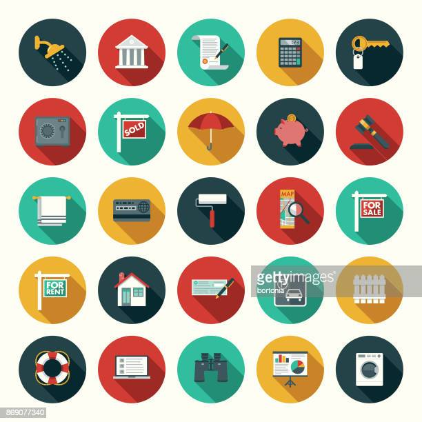 Flat Design Real Estate Icon Set with Side Shadow