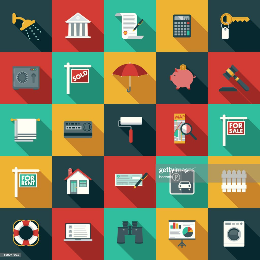 Flat Design Real Estate Icon Set with Side Shadow : stock illustration