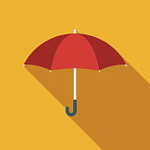Flat Design Real Estate Insurance Umbrella Icon with Side Shadow