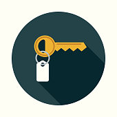 Flat Design Real Estate Key Icon with Side Shadow