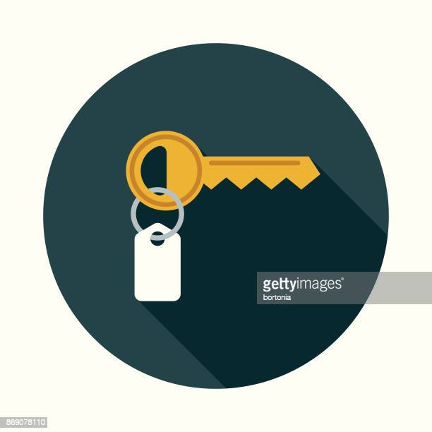 flat design real estate key icon with side shadow - unlocking stock illustrations
