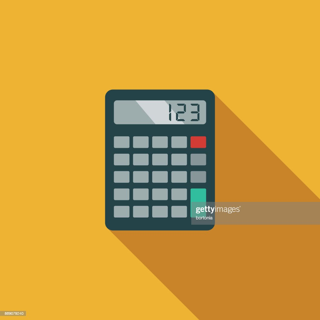 flat design real estate mortgage calculator icon with side shadow
