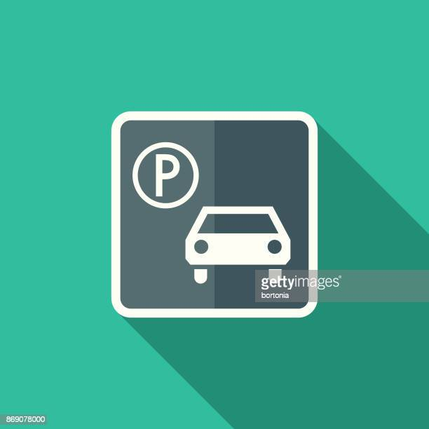 Flat Design Real Estate Parking Icon with Side Shadow