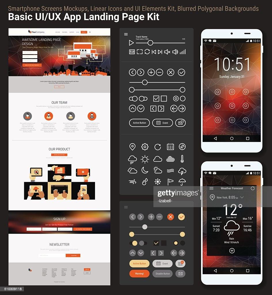 Flat design responsive pixel perfect UI mobile app and website