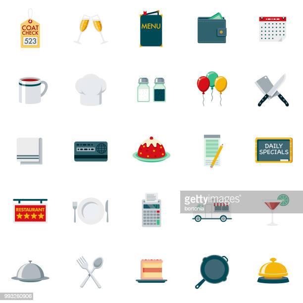 ilustrações, clipart, desenhos animados e ícones de conjunto de ícones de restaurante de design plano - sobremesa