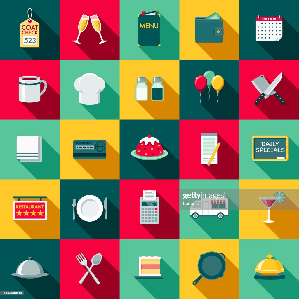 Flat Design Restaurant Icon Set with Side Shadow