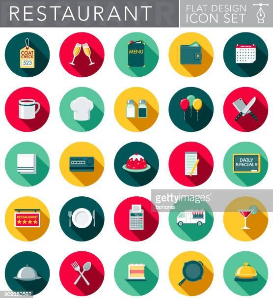 ilustrações, clipart, desenhos animados e ícones de conjunto de ícones de restaurante design plano com sombra do lado - chapéu de cozinheiro