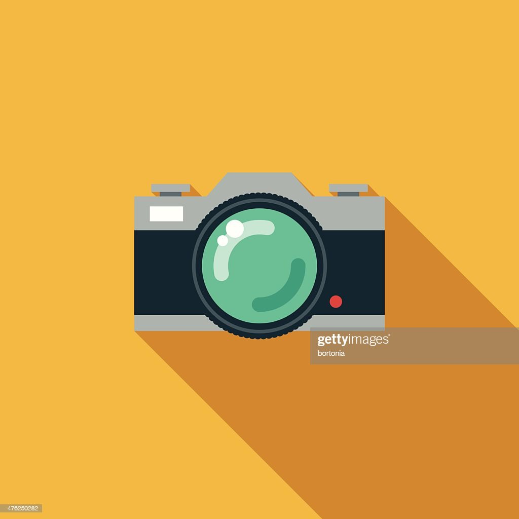 Flat Design Retro SLR Camera Icon With Long Shadow
