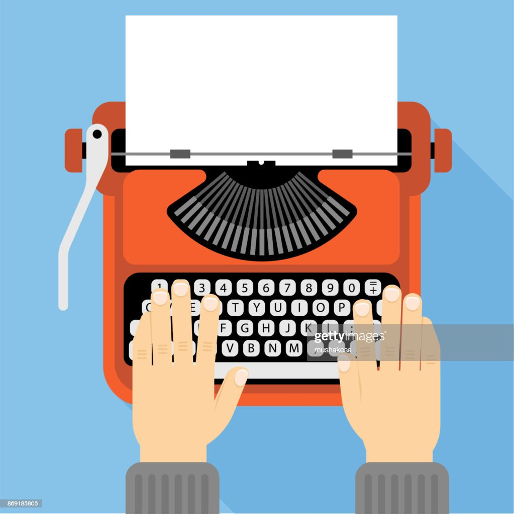 Flat design retro typewriter