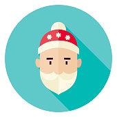 Flat Design Santa Claus Face Circle Icon