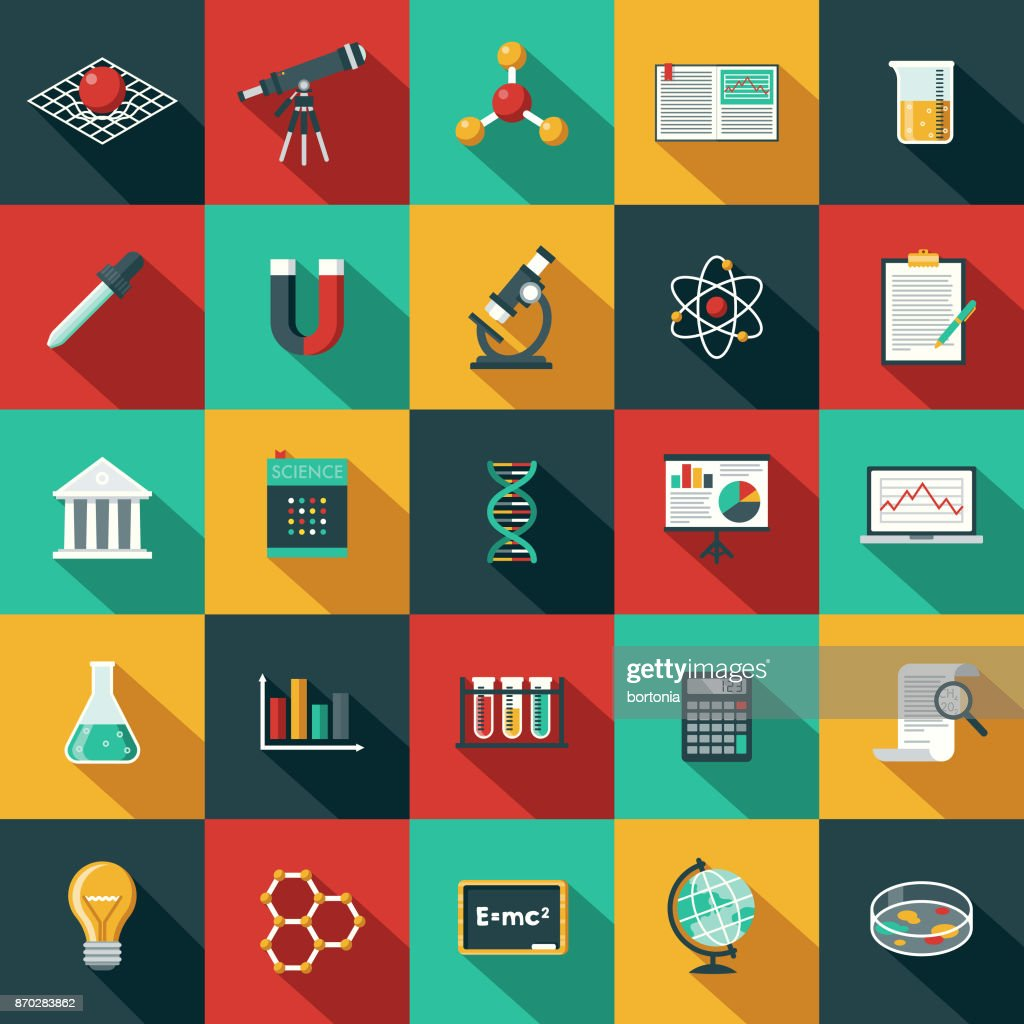 Flat Design Science & Technology Icon Set with Side Shadow : stock illustration