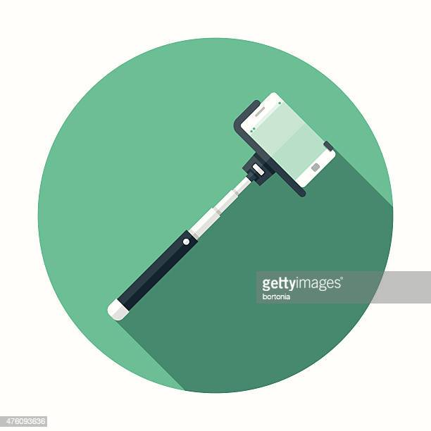Flat Design Selfie Stick Icon With Long Shadow