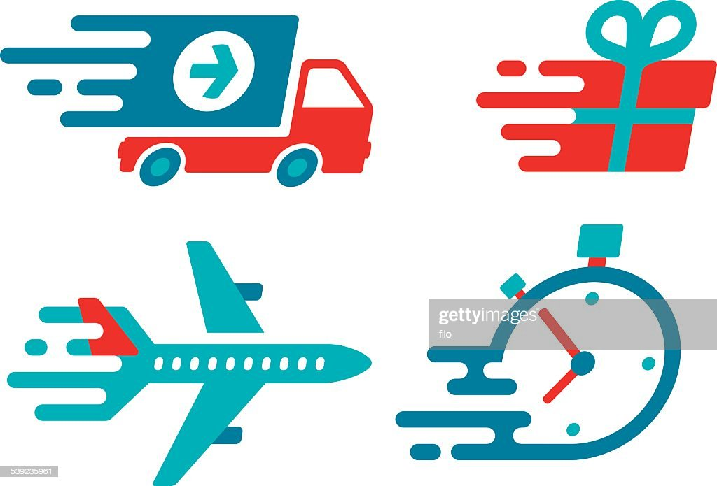 Flat Design Shipping and Delivery Symbols and Icons