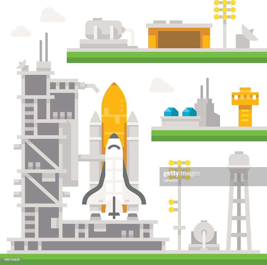 Flat design shuttle launch station
