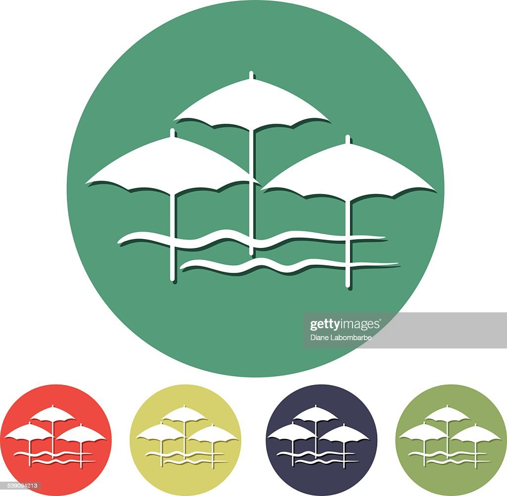 Flat Design Simple Icon Beach Umbrellas Symbol Vector Art Getty Images
