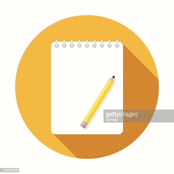 Icône Design plat avec longues ombres Sketchbook