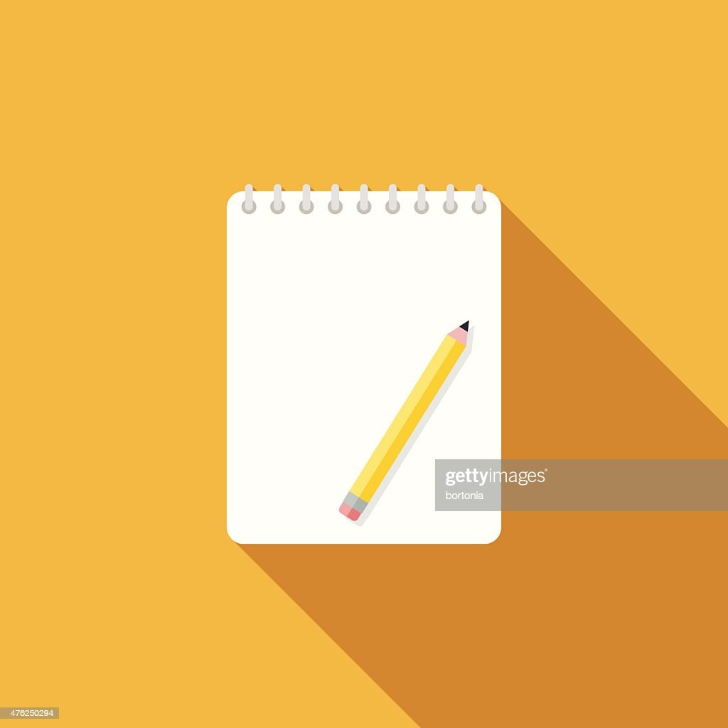 Flat Design Sketchbook Icon With Long Shadow
