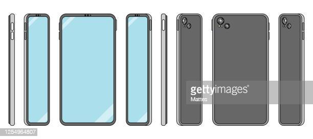 flat design smart phone illustration in orthonormal view for ux and ui - side view stock illustrations