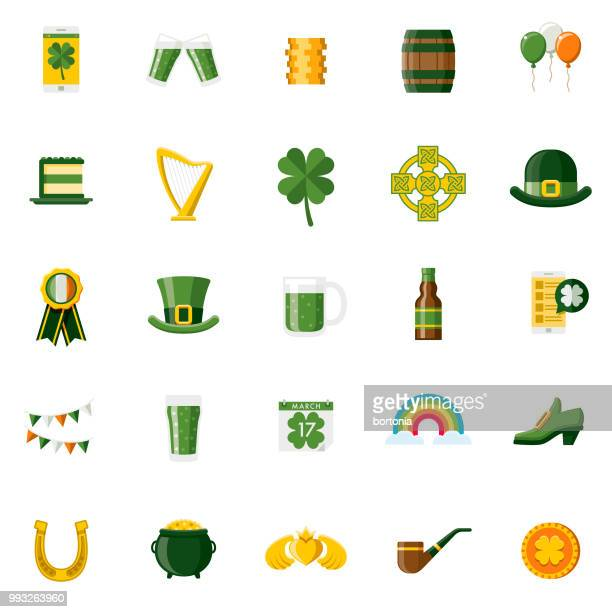 flat design st. patrick's day icon set - hat stock illustrations