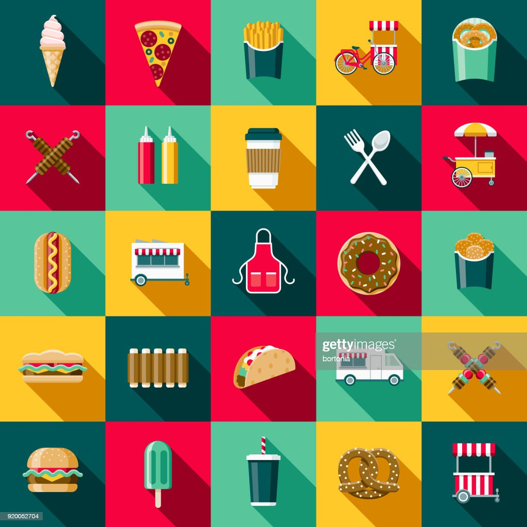 Flat Design Street Food Icon Set with Side Shadow