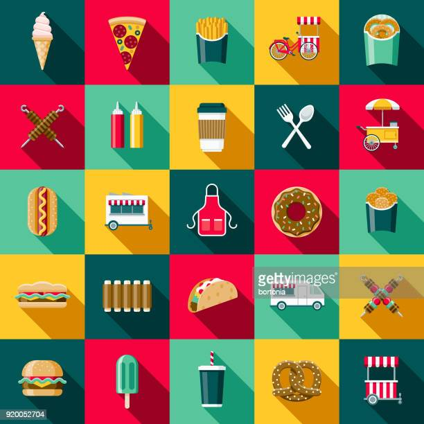 flat design street food icon set with side shadow - unhealthy eating stock illustrations