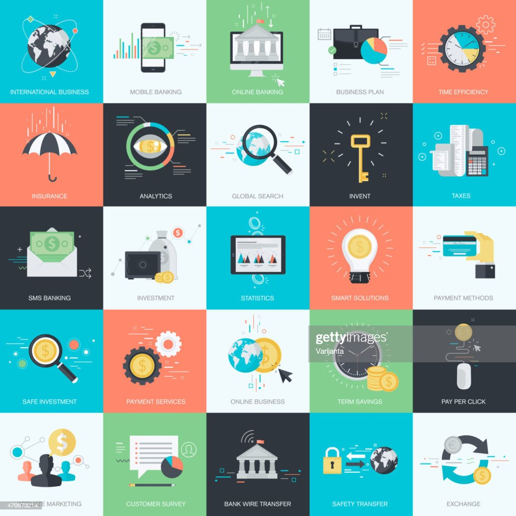Flat design style concept icons for finance, banking, e-commerce