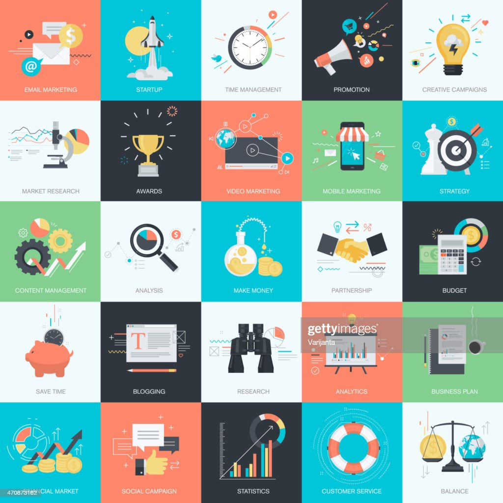 Flat design style concept icons for marketing and business