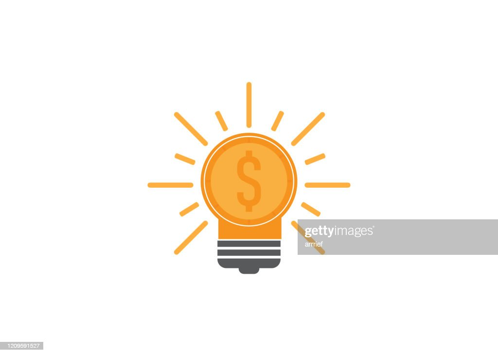 flat design style idea and money, symbolize financial idea, investment idea. vector ilustration. perfect for icon and design element. : stock illustration