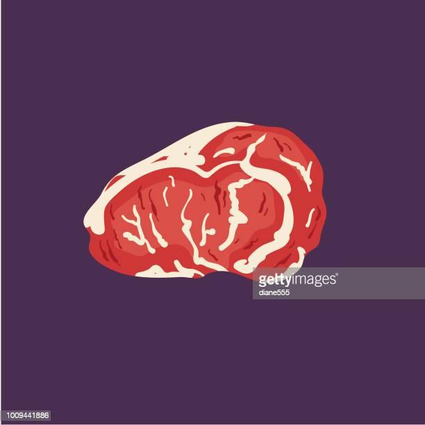 flat design style meat icon - roast beef - sirloin steak stock illustrations, clip art, cartoons, & icons