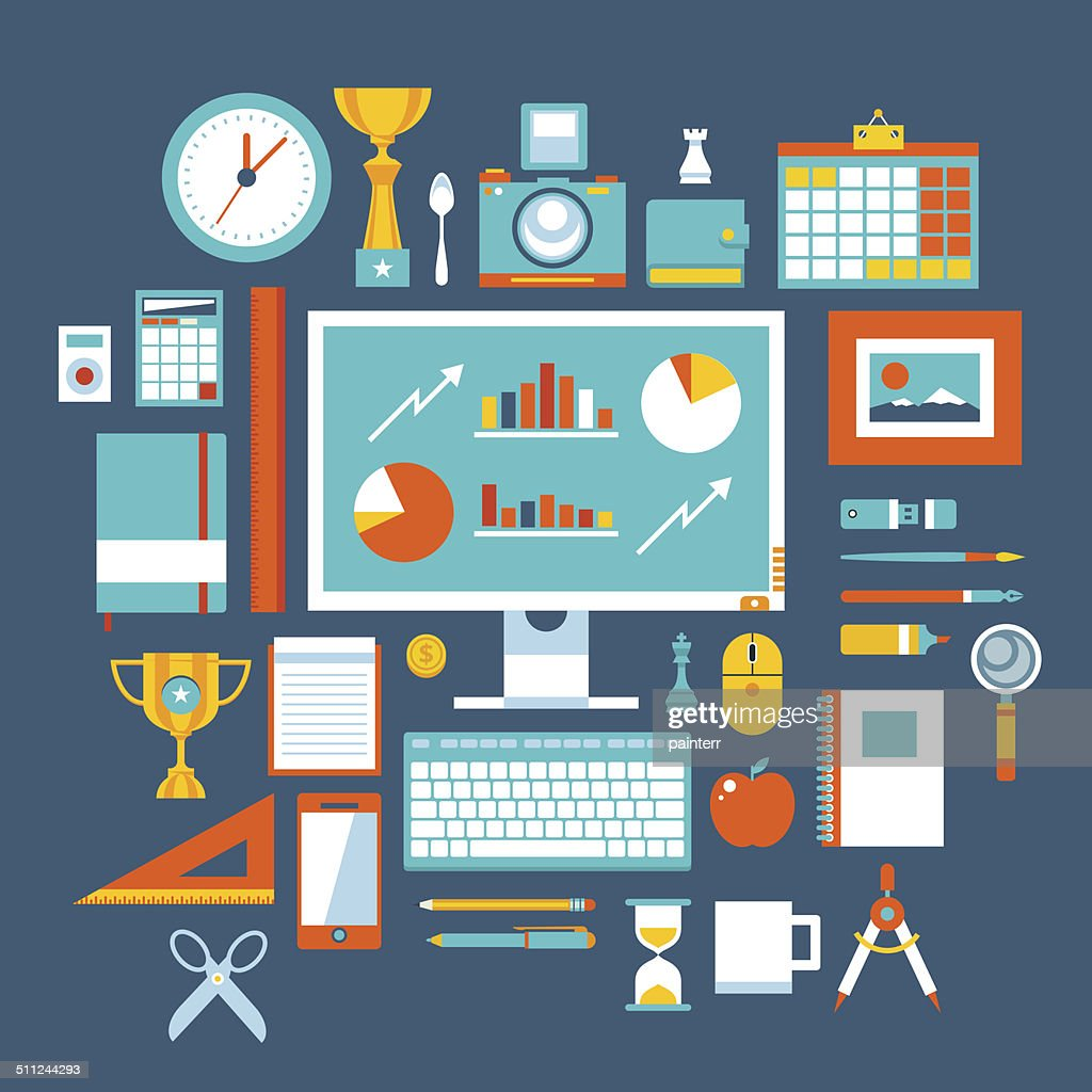 Flat design style modern vector illustration icons set of office