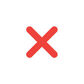 Flat design style vector x mark icon on white
