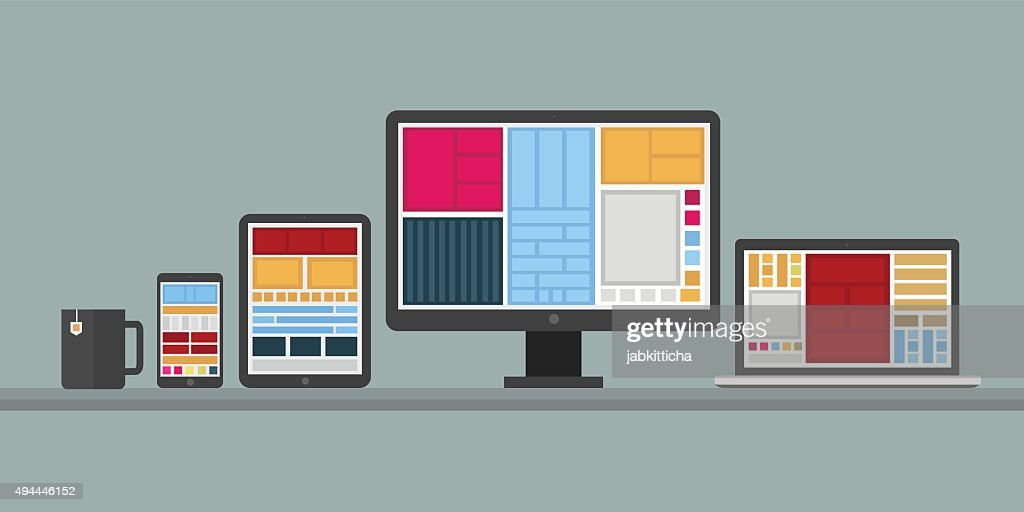 Flat design stylish vector illustration of designer desk with de