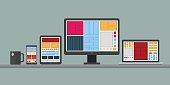 Flat design stylish vector illustration of designer desk with de