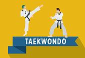 Flat design, Taekwondo, Korean Martial Art