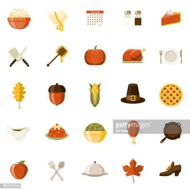 flat design thanksgiving icon set - canadian thanksgiving stock illustrations