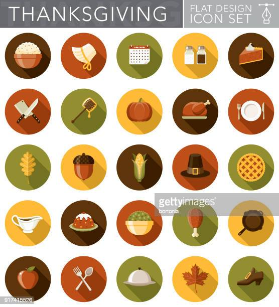 illustrations, cliparts, dessins animés et icônes de design plat thanksgiving icon set avec côté ombre - thanksgiving