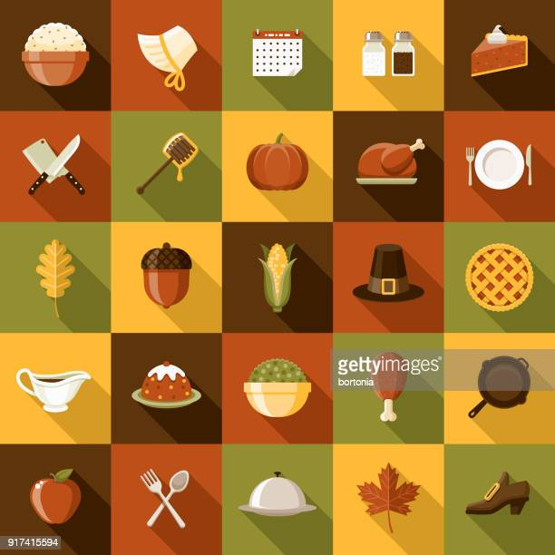 flat design thanksgiving icon set with side shadow - canadian thanksgiving stock illustrations