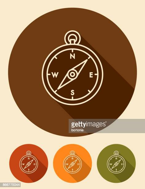 Flat Design Thin Line Camping Compass Icon with Side Shadow