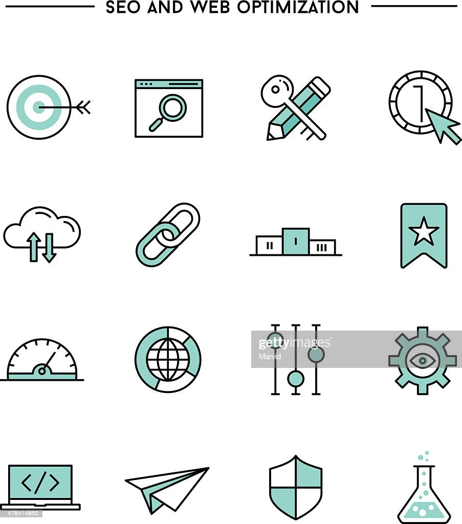 flat design, thin line seo and web optimization icons