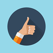 Flat Design Thumbs Up Icon Background . Vector Illustration