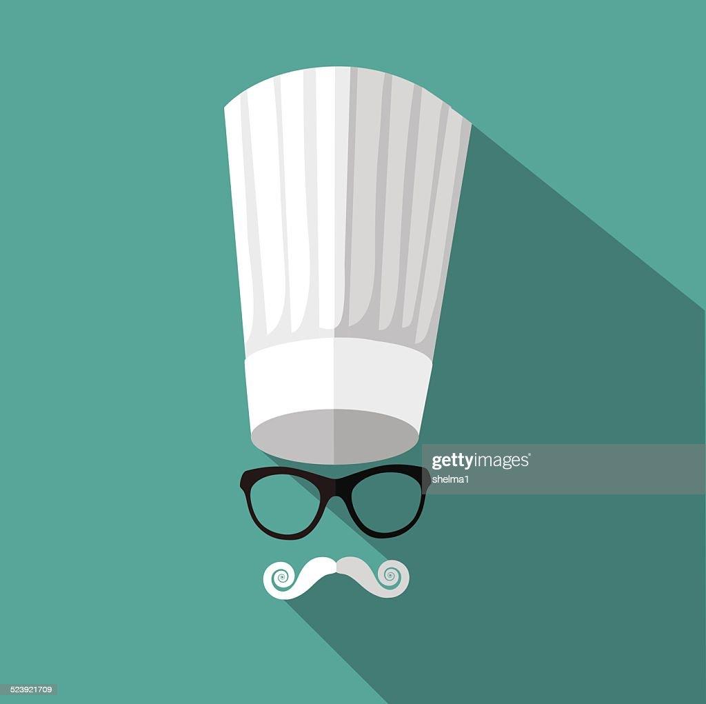 Flat design toque, mustache and glasses