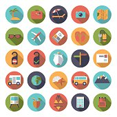 Flat Design Travel and Vacation Round Icon Set