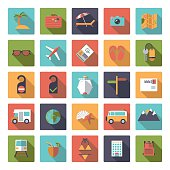 Flat Design Travel and Vacation Square Icon Set