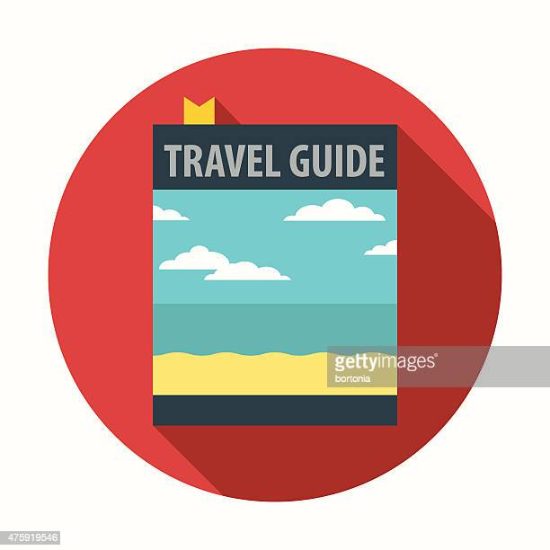 Flat Design Travel Guide Book Icon With Long Shadow