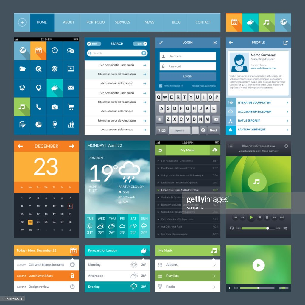 Flat design ui elements for mobile app and web