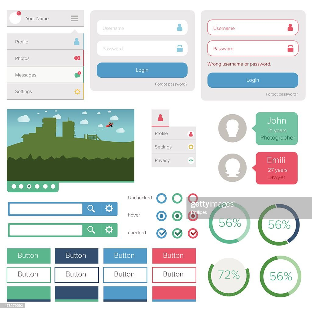 Flat design ui kit elements