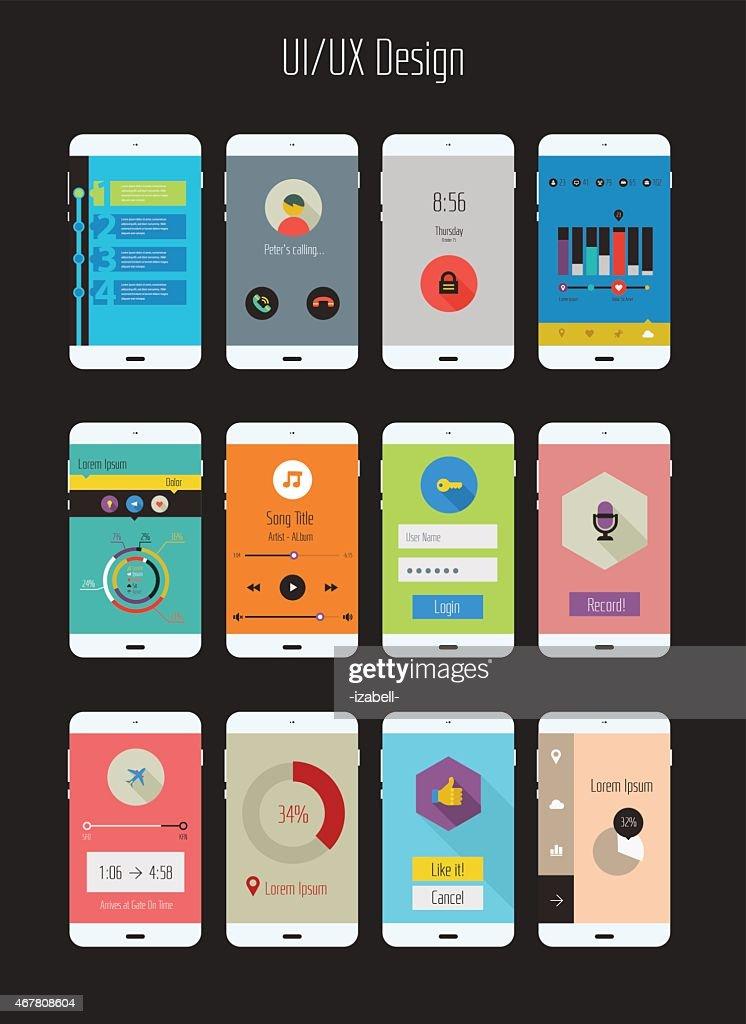 Flat design UI/UX mobile application templates