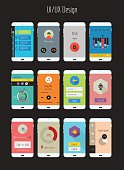 Flat design UI/UX mobile application templates