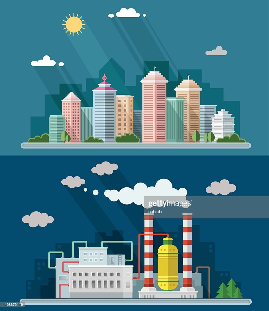 flat design. Urban landscape illustrations including downtown, suburb and industrial